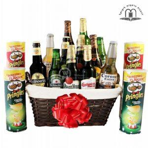 Give Him Beers – Pringles Beer Gift Basket Israel